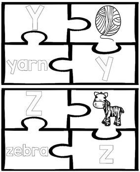 ABC Matching Puzzle Cards- Letters, Words and Pictures