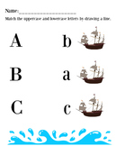 ABC Matching Uppercase and Lowercase: Nautical Themed