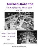 ABC Mini Road Trip with Matchbox cars, {Black and white outline version}