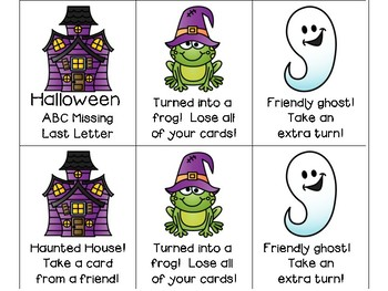 ABC Missing Letter Card Game - Halloween Version