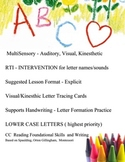 ABC Multisensory  Intervention, RTI,  lower case letter writing, handwriting