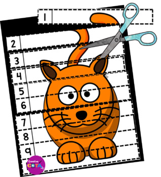 ABC No Prep Cut and Paste Numbers 1-10 Puzzles