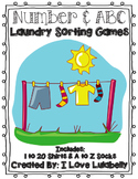 ABC & Number Laundry Sorting Games - A to Z & 1 to 20 - Preschool/Kindergarten