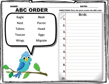 ABC ORDER!!! (68 FUN THEME BASED WORKSHEETS!)