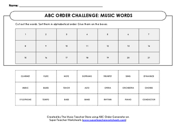 ABC ORDER CHALLENGE!  MUSIC WORDS!