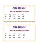 ABC ORDER GAME CARDS/ ALTERNATIVE ASSESSMENT