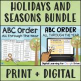 ABC ORDER Holidays and Seasons BUNDLE Print + Digital