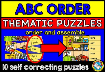 ABC ORDER PUZZLES: DICTIONARY SKILLS: ABC ORDER CENTER: AL