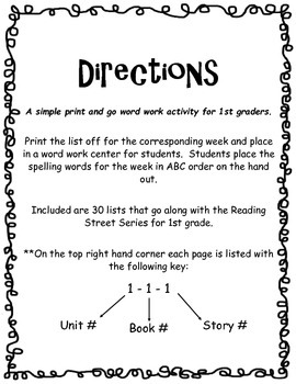 ABC Order - 1st Grade Reading Street