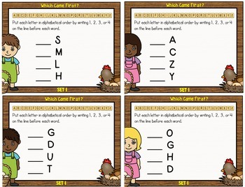 Alphabetical Order Editable Task Cards ~Which Came First? Ordering Eggs