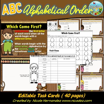 Alphabetical Order Editable Task Cards ~Which Came First?