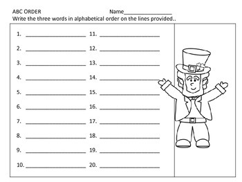 ABC Order--3 Levels--centers and worksheets--St. Patrick's Day Theme