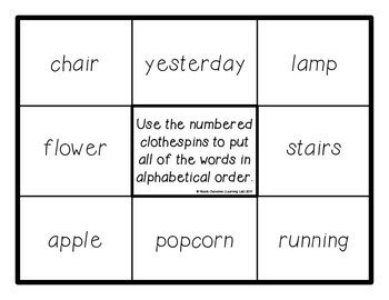 ABC Order - Self-Checking Reading Centers - Word Work