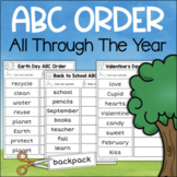 ABC Order Alphabetical Order Worksheets for The Whole Year NO PREP