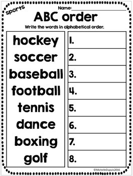 ABC Order Worksheets - Alphabetical order - 15 themes