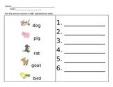 ABC Order- Animal Theme
