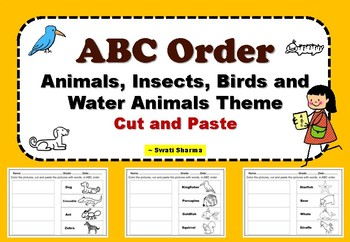 ABC Order Animals, Insects, Birds and Water Animals Theme Cut and Paste