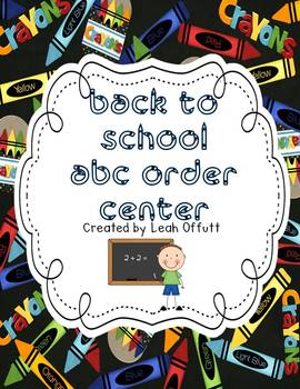 ABC Order -Back to School Theme