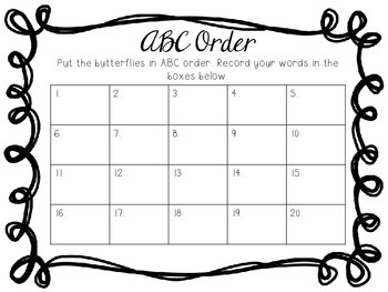 ABC Order Butterfly Sort