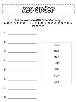 ABC Order CVC Words