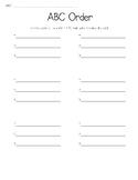 ABC Order Cards & Worksheet