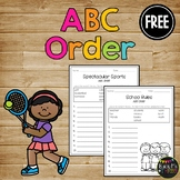 ABC Order Worksheet FREEIBE Alphabetical Order Activtities - 1st & 2nd Letter