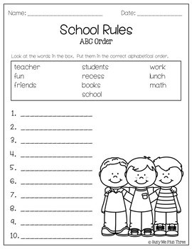ABC Order Worksheet FREEIBE Alphabetical Order Activtities - 1st ...