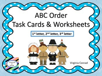 Alphabetical Order Centers--3 levels--Thanksgiving Theme
