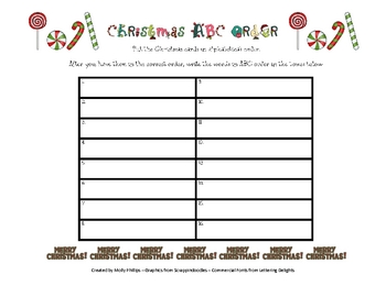 ABC Order Christmas Activity