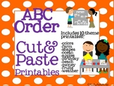 ABC Order-Cut & Paste Printables-10 themed abc order printables