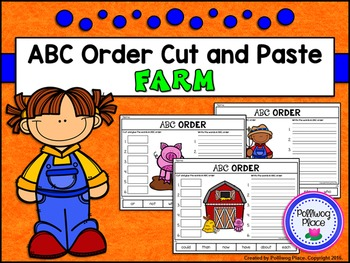 ABC Order Cut and Paste Activity - Farm (Editable)