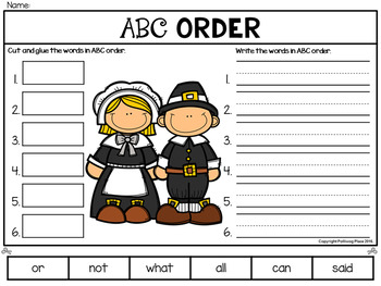 ABC Order Cut and Paste Activity - Thanksgiving (Editable)