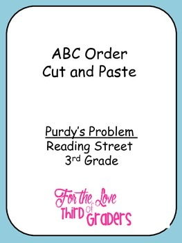 ABC Order Cut and Paste Unit 2 Prudy's Problem Reading Street 3rd Grade