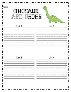 ABC Order - Dinosaurs