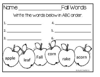 Fall ABC Order Worksheets