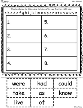 ABC Order First Grade Dolch Sight Word Cut and Paste Packet
