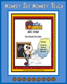 """ABC Order First Letter  """"Smarty Pants"""""""