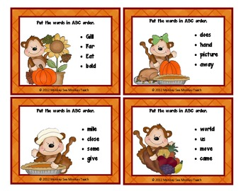 ABC Order Four Words First Letter / Fall/Thanksgiving