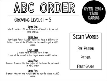 ABC Order Growing Task Cards (250+)