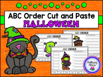 ABC Order Cut and Paste Activity - Halloween (Editable)