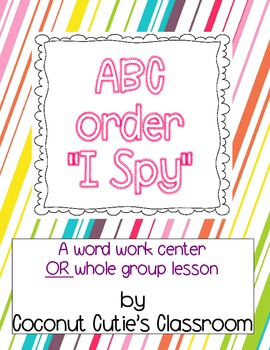 """ABC Order """"I Spy"""" game {center or whole group}"""