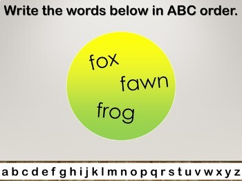 ABC Order Interactive PowerPoint Lesson