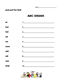 ABC Order - Jack and The Wolf- Journeys 1st Grade
