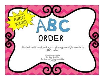 ABC Order: Kindergarten Sight Words