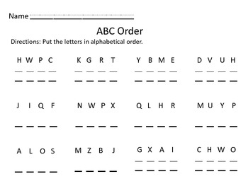 I Have Who Has ABC Order (Letter Only)
