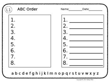 ABC Order Leveled - Editable!