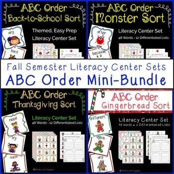 ABC Order Literacy Center Sets Fall Mini Bundle