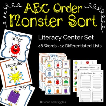 ABC Order Monster Sorting Center (Halloween or Year 'Round)