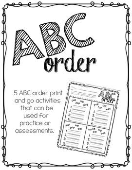 ABC Order NO PREP Printable