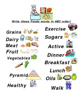 ABC Order Nutrition Words